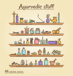 Icons set - ayurvedic staff vector