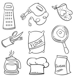 Kitchen set hand draw style doodle vector