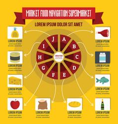 market food navigation infographic flat style vector image