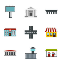 Modern city icons set flat style vector