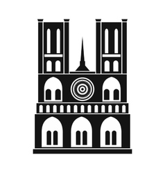 Norte dame cathedral paris icon simple style vector