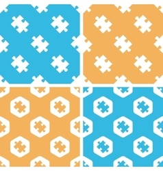 Puzzle piece pattern set colored vector image