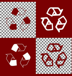 Recycle logo concept bordo and white vector