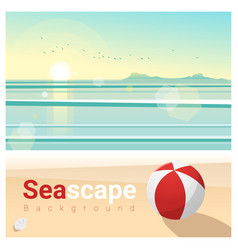 Seascape background with tropical beach vector