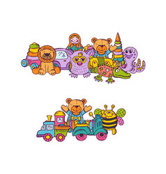 set of big kid toys piles hand drawn and vector image vector image