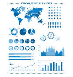 set of blue infographic elements demographic vector image vector image