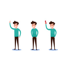set of guy in casual clothes in various poses vector image
