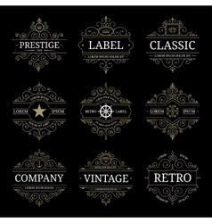 Set of retro vintage luxury logo templates vector