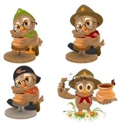 Set owl scout manufactures ceramic pot potter vector