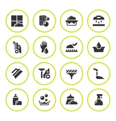 Set round icons of cleaning vector