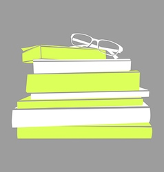 stack of books and glasses vector image