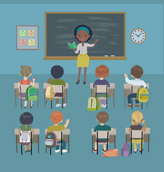 students and african teacher in classroom vector image