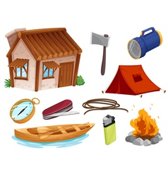 Various objects of camping vector