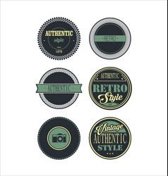 Vintage labels blue set 3 vector