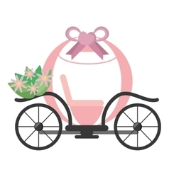 Vintage pink carriage wedding flowers vector