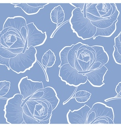White outline roses on blue seamless pattern vector image vector image