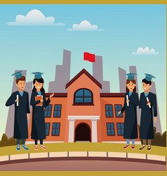 Young students in highschool building vector