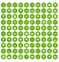 100 microbiology icons hexagon green vector