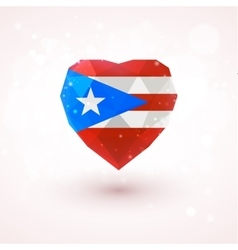 Flag of puerto rico in shape diamond glass heart vector