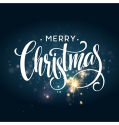 Christmas lettering on Snowflake sparkle vector image