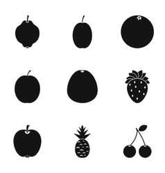 Fresh fruit icons set simple style vector