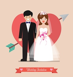 Newlyweds bride and groom wedding invitation vector