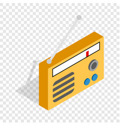 orange retro radio receiver isometric icon vector image