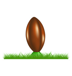 Retro rugby ball on kicking tee standing in grass vector