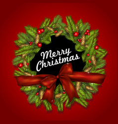 christmas background with bow fir branches and vector image