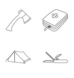 Ax first-aid kit tourist tent folding knife vector