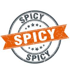 Spicy round orange grungy vintage isolated stamp vector