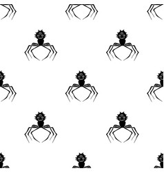 Red virus icon in black style isolated on white vector