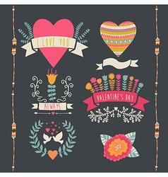 Valentine label set Valentines Day emblems vector image
