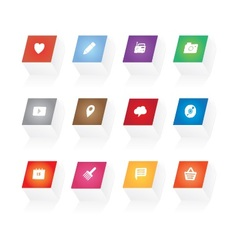 3d button icons vector image