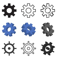 Set of nine gears isolated vector
