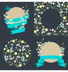 Set of meadow flowers compositions vector
