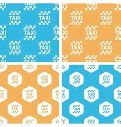 Taxi pattern set colored vector