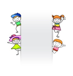 happy kids hand drawing kids with blank paper vector image