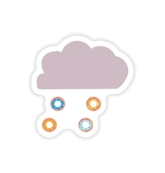 Stylish paper sticker on a white background cloud vector