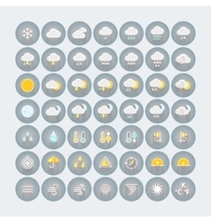 Weather icons set flat circle icons with shadows vector
