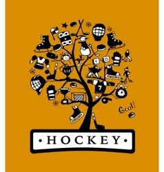 Hockey concept tree sketch for your design vector