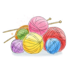 ball of wool doodle watercolor vector image