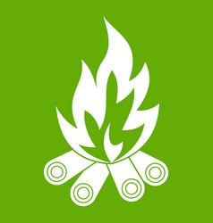 bonfire icon green vector image