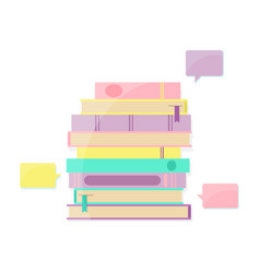 Books pile and bookmark with speech bubbles vector