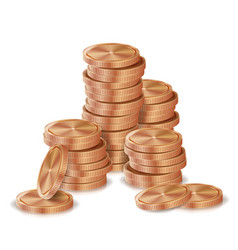 Bronze copper coins stacks silver finance vector