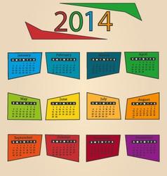 Calendar 2014 Rhombus vector image vector image