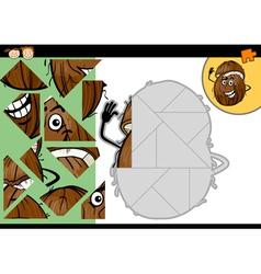 Cartoon coconut jigsaw puzzle game vector