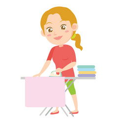 Character of housewife ironing design style vector