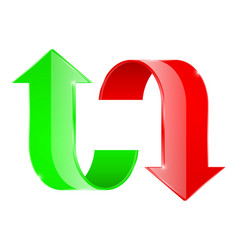 curved arrows up and down red and green vector image vector image