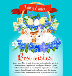 Easter eggs and bunny greeting poster vector
